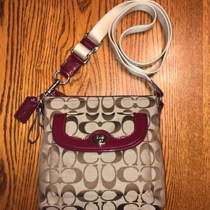 NWOT Coach Leather and Canvas Signature Jacquard